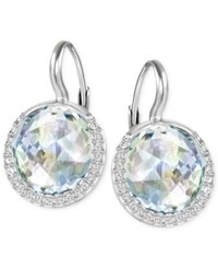 Swarovski Silver Tone Faceted Cabochon Crystal Drop Earrings