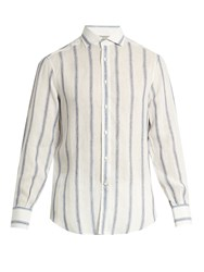 Brunello Cucinelli Single Cuff Striped Linen And Silk Blend Shirt White Multi