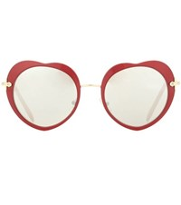 Miu Miu Heart Sunglasses Red