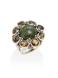 Stephen Dweck Newbury Chrome Diopside Cabochon Yellow Quartz And Sterling Silver Flower Ring