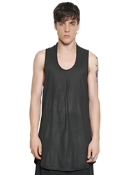 Tom Rebl Extra Long Cotton Jersey Tank Top Black