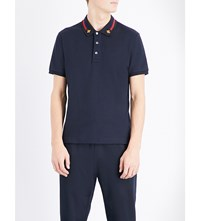 Gucci Bee Applique Stretch Cotton Polo Shirt Ink Red Zest