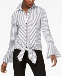 Eci Striped Tie Front Bell Sleeve Top White Black
