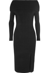 Toteme Kosiv Off The Shoulder Ribbed Knit Dress Black
