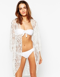 Max C London Max C Longline Structured Lace Kimono White