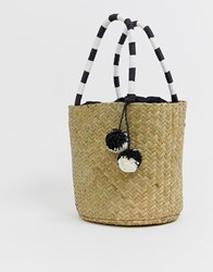 South Beach Straw Tote Bag With Striped Handle Multi