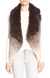 La Fiorentina Ombre Genuine Rabbit Fur Vest Camel Brown