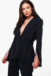 Boohoo Split Sleeve Contrast Belted Tailored Blazer Navy