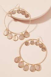 Anthropologie Seashell Hoop Earrings Sand