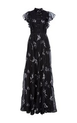 Christian Siriano Blue Jay Embroidered Organza Cut Out Gown Black