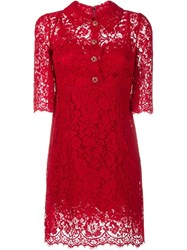 Dolce And Gabbana Floral Lace Button Up Dress Red