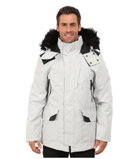 Spyder Deck Parka Synthetic Down Jacket Cirrus Black Men's Coat White