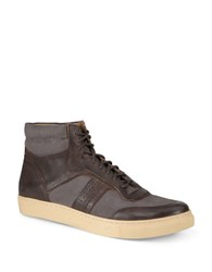 Andrew Marc New York Concord Lace Up Sneakers Brown Cream