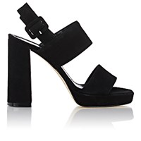 Barneys New York Women's Double Band Platform Sandals Black Blue Black Blue