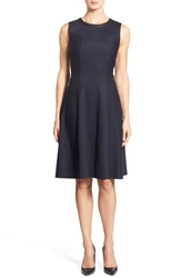Classiques Entier Pinstripe Fit And Flare Dress Navy Charcoal Pinstripe