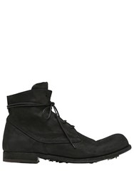 Officine Creative Washed Horse Leather Lace Up Boots Black