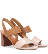 Chloe Two Tone Leather Sandals Brown
