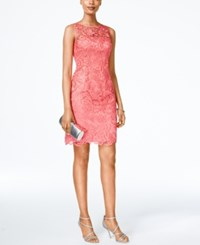 Adrianna Papell Sleeveless Lace Sheath French Coral