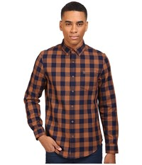 Original Penguin Waffle Buffalo Check Dark Sapphire Men's Long Sleeve Button Up Blue