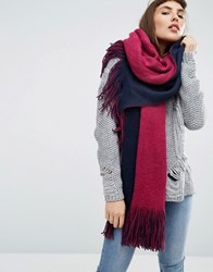 Asos Colour Block Reversible Rochelle Scarf Navy And Pink Multi