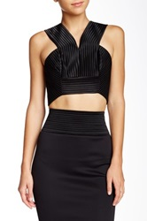 Robert Rodriguez Quorra Striped Embroidery Crop Top Black
