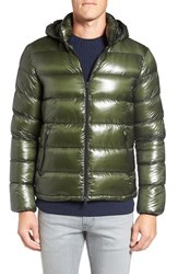 Herno Men's 7 Dernier Water Resistant Down Puffer Jacket With Detachable Hood Green