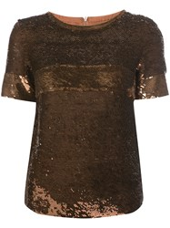 Vanessa Seward Sequin Embellished T Shirt Women Silk Sequin 38 Brown