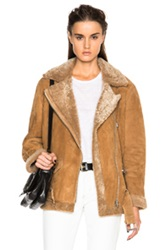 Acne Studios More Shearling Jacket In Brown Neutrals
