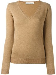 Golden Goose Deluxe Brand V Neck Jumper Metallic