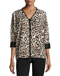 Alberto Makali Leopard Print 3 4 Sleeve Zip Front Tunic Black Gold