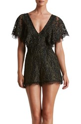 Dress The Population Women's Raven Lace Romper Black Lace