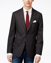 Dkny Men's Slim Fit Gray And Burgundy Check Pattern Sport Coat Grey