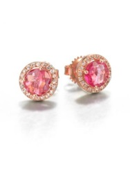 Suzanne Kalan Salmon Topaz White Sapphire And 14K Rose Gold Round Stud Earrings Rose Gold Pink