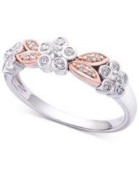 Wrapped In Love Diamond Two Tone Flower Ring 1 4 Ct. T.W. 14K White And Rose Gold Created For Macy's Rose White Gold