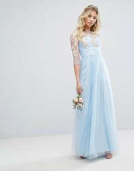 Chi Chi London Metallic Premium Lace Maxi Dress With Tulle Skirt Blue Rose Gold