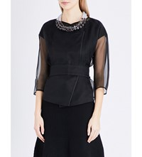 Armani Collezioni Cropped Silk Organza Wrap Jacket Black