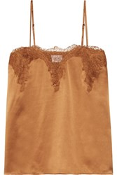 Cami Nyc Sweetheart Lace Trimmed Silk Charmeuse Camisole Camel