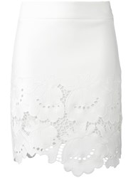 Victoria Beckham Floral Lace Skirt White