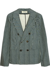 Marni Printed Cotton Pique Double Breasted Blazer