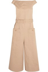 Tibi Cropped Cotton Blend Twill Jumpsuit Sand
