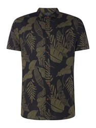 Criminal Jungle Leaf Print Short Sleeve Shirt Black
