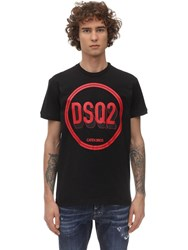 Dsquared Printed Very Very Dan Fit Cotton T Shirt Black