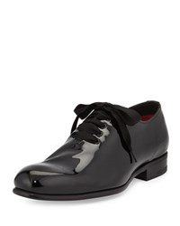 Tom Ford Charles Patent Lace Bow Shoes Black