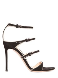 Gianvito Rossi 100Mm Silver Chain Trim On Suede Sandals