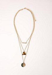Missguided Layered Tortoise Shell Detail Necklace Gold