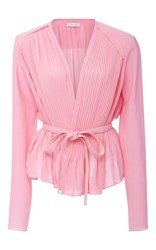 Carven Peplum Wrap Blouse Light Pink