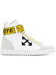 Off White Security High Top Sneakers Men Calf Leather Leather Suede Rubber 41 White