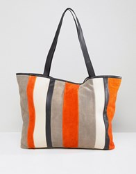 Asos Suede Colourblock Stripe Shopper Bag Multi