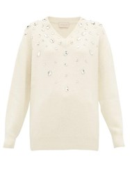 Christopher Kane Crystal Embellished Cashmere Blend Sweater Cream