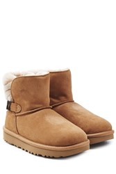 Ugg Australia Fur Lined Suede Boots With Buckle Brown
